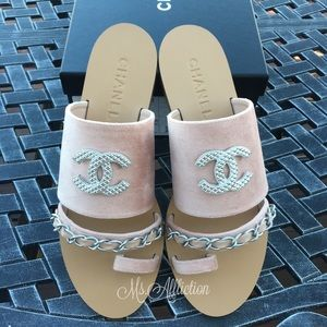 CHANEL Authentic Silver CC Sandals 41 / 9.5-10 US
